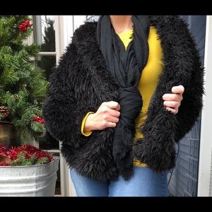 Black Faux Fur Jacket - Plus Size